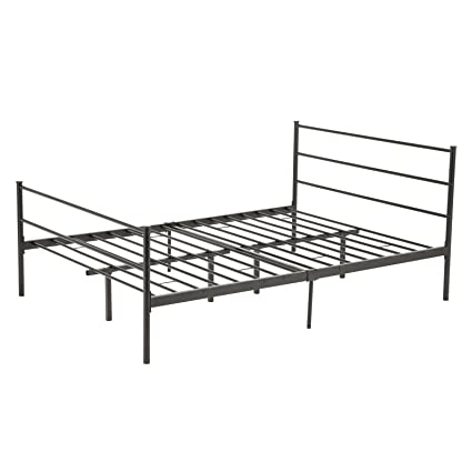 Amazon.com: Mecor Reinforced Metal Bed Frame Queen Size Platform ...