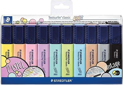 Staedtler 364 CWP10. Rotuladores fluorescentes Textsurfer Classic Pastel y Vintage. Estuche con 10 marcadores de colores variados: Amazon.es: Oficina y papelería