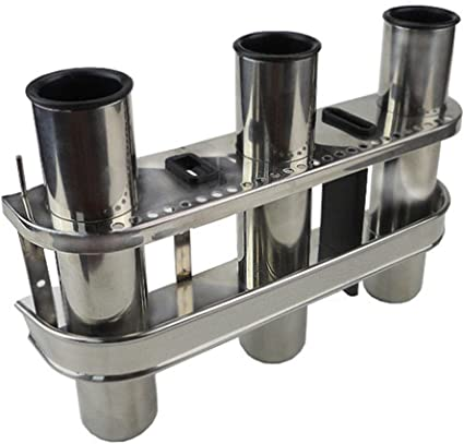 Boat//Fishing//Storage//Lure STAINLESS STEEL TRIPLE 3-ROD RACK HOLDER ORGANISER