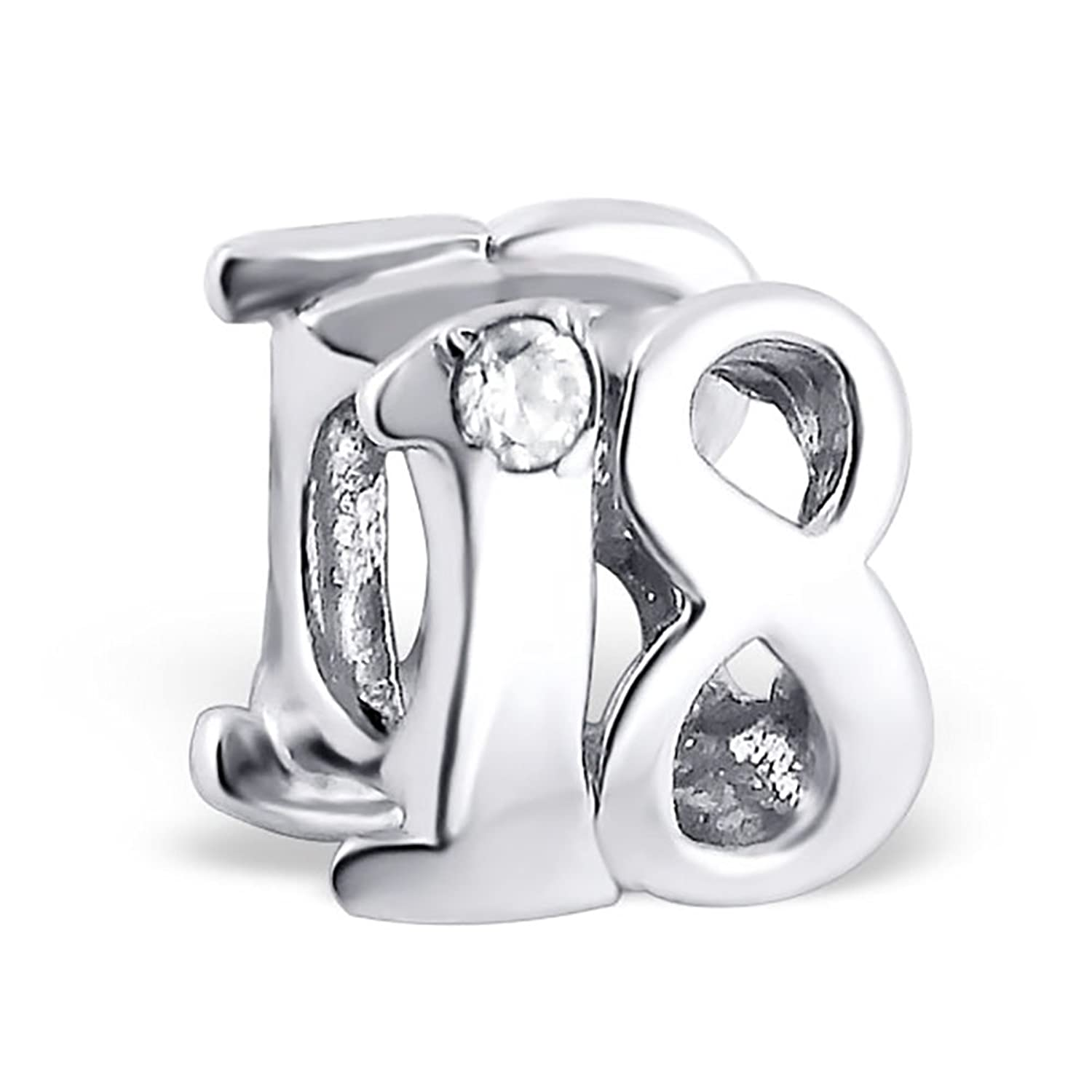 [Sponsored]18th Birthday Celebration Charm Bead - Sterling Silver White Crystals - Gift boxed Lf9co95zLX