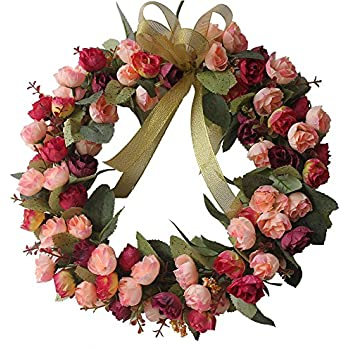 Amazon raz imports spring collection 10 pink rose heart chichic rose wreath artificial flower blossom garland floral wreaths flowers arrangements 14 inch mightylinksfo