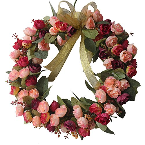 CHICHIC 13.8 inch Rose Wreath Artificial Flower Blossom Garland, Floral Wreaths Flowers Arrangements, Spring Decor Home Office Wall Wedding Decoration Year Round Display, Red & ()