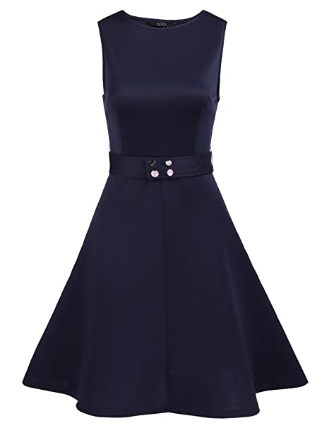 Amazon.com: BURLADY Vestido de mujer retro floral sin mangas ...