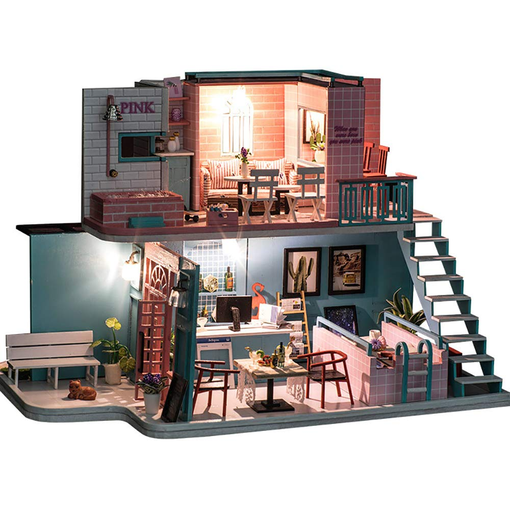 DIY ドールハウス B07QV5MFJT、木製ミニハウスクラフトドールハウスキットミニチュアと家具1:24 DIY スケールクリエイティブデコレーションサプライズプレゼント (音楽、ライト付き) B07QV5MFJT, ブランドショップKOJIYA:8a435c90 --- m2cweb.com