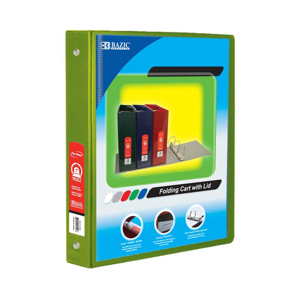 BAZIC 1'' Lime Green 3-Ring View Binder w/ 2-Pockets