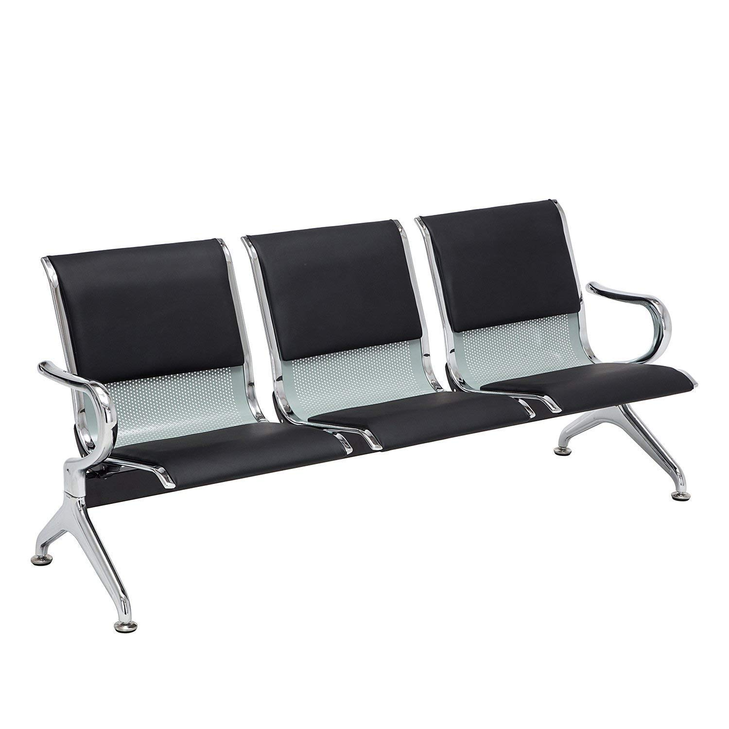 Kintness PU Leather 3-Seat Reception Bench Waiting Room Chair Airport Garden Salon Barber Guest Bench Black by Kintness
