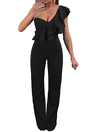 One Shoulder Jumpsuits for Womens Elegant Solid Ruffle Sleeveless Rompers Dress Straight Pants S-XL