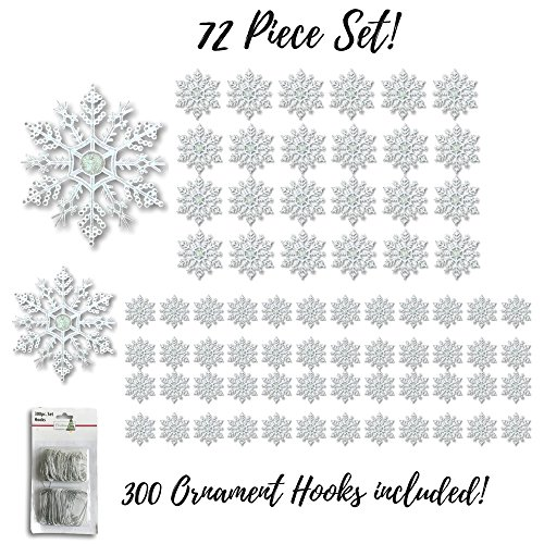 Clear Glittered Snowflakes - Set of 72 Assorted Sized Shatterproof Christmas Snowflakes - 300 Ornament Hooks Included - Snowflake Decorations (Ornament Snowflake Set)