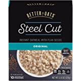 Post Better Oats Steel Cut Instant Oatmeal, whole grain, with Flax Seeds, Original flavor, 11.6 Ounce