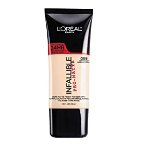 L'Oreal Paris Makeup Infallible Pro-Matte Liquid Longwear Foundation, True Porcelain 099, 1 fl. oz.