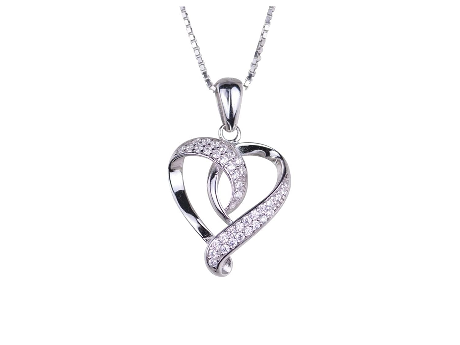 271af7fea94e7 Amazon.com  Global Huntress S925 Sterling Silver Open Heart Pendant with 38  Round Faceted Cubic Zirconia Stones Gift Boxed  Jewelry