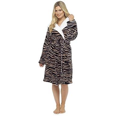 Ladies Supersoft Big Cat Animal Print Hooded Wrap Over Bathrobe Tiger 16-18 08f20cc37