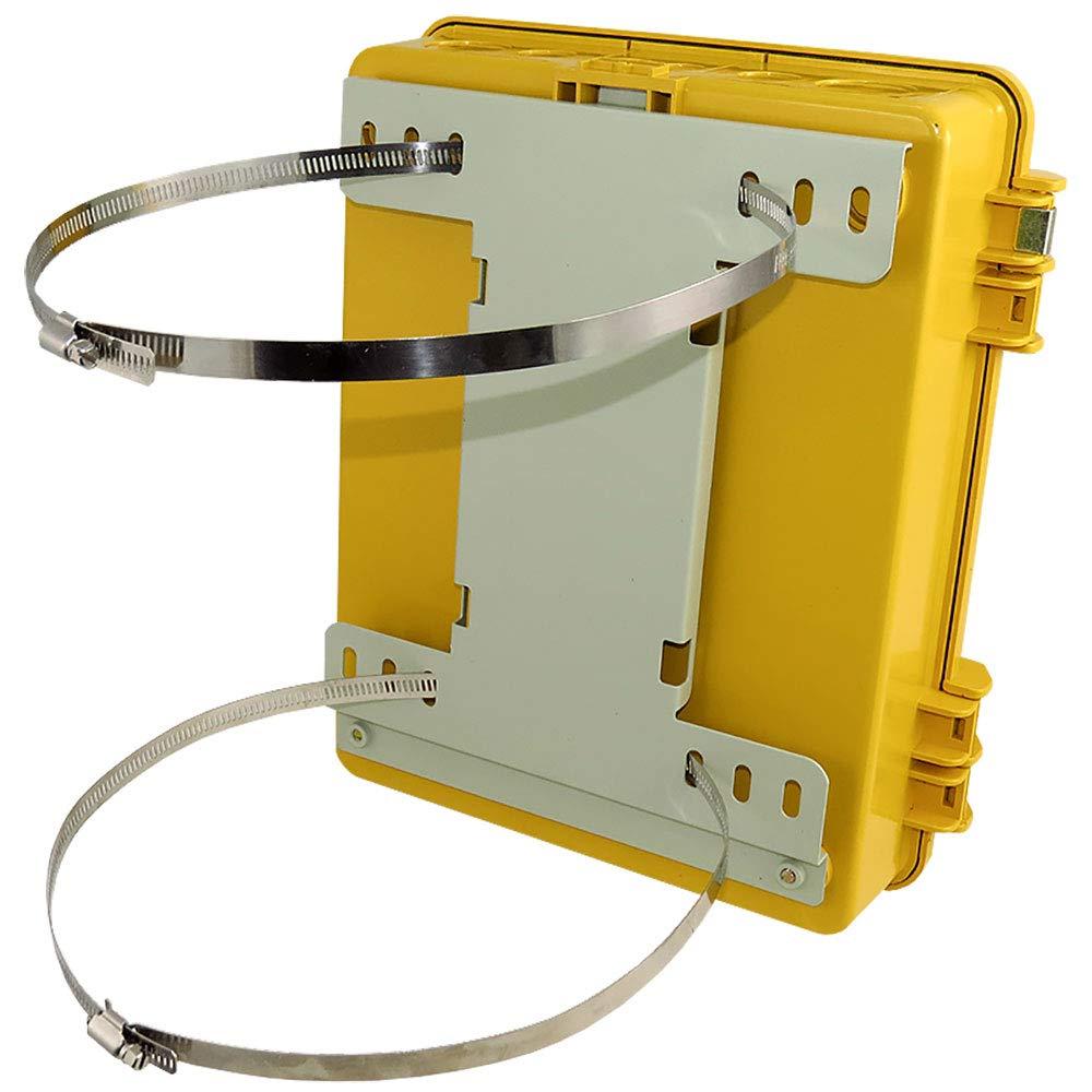 Altelix Yellow Pole Mount NEMA Enclosure (12'' x 8'' x 4'' Inside Space) Polycarbonate + ABS Weatherproof Outdoor High Visibility NEMA Box by Altelix (Image #6)
