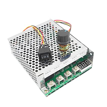 Sydien DC10-55V 60A Stepless DC Motor Speed Controller Forward Reverse  Control with Digital Display,Ajustable Potentiometer, Forward-Brake-Reverse