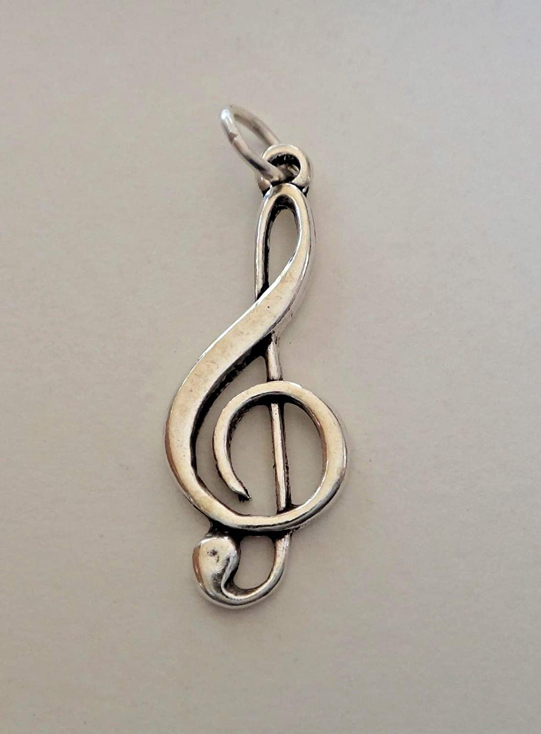 Fine Charms Sterling Silver 27x10mm Treble Clef for Music Lover!