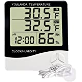 Large Display Digital Thermometer Humidity Temperature Monitor Indoor Outdoor with Alarm Clock