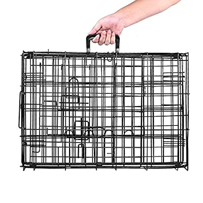 Masione® 2 Door Pet Folding Dog Cat Crate Cage Kennel w/ABS Tray