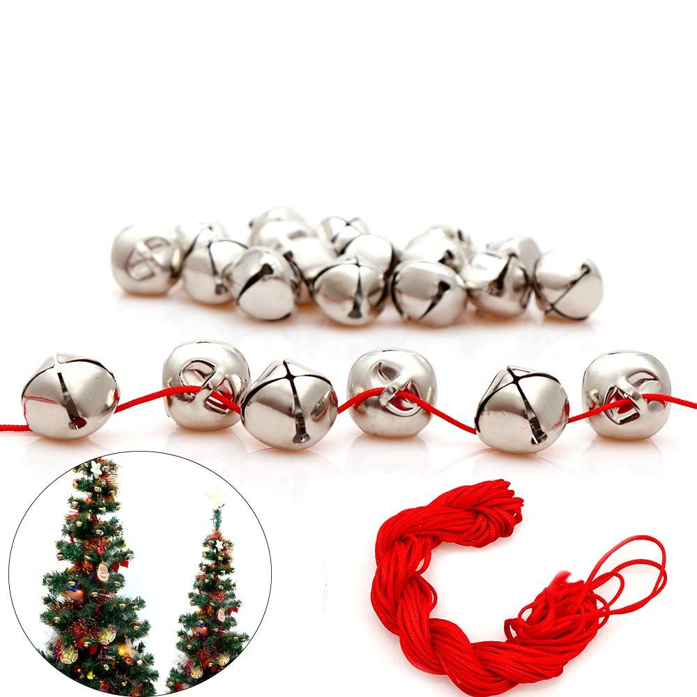 100Pack 1 Inch Sliver Jingle Bells Christmas Craft Bells for Christmas & Party & Festival Decorations with 27m Red Cord Y wang