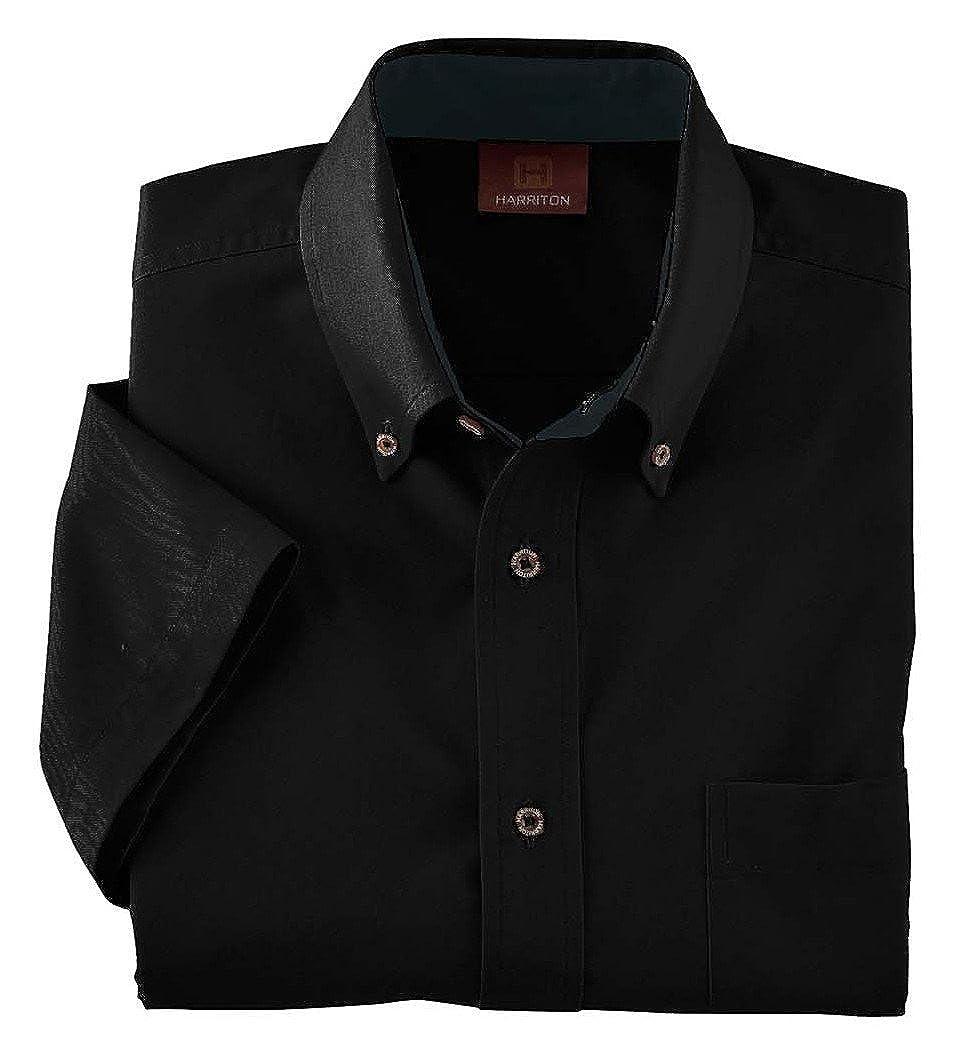 Black Harriton Adult Short Sleeve Twill Shirt M