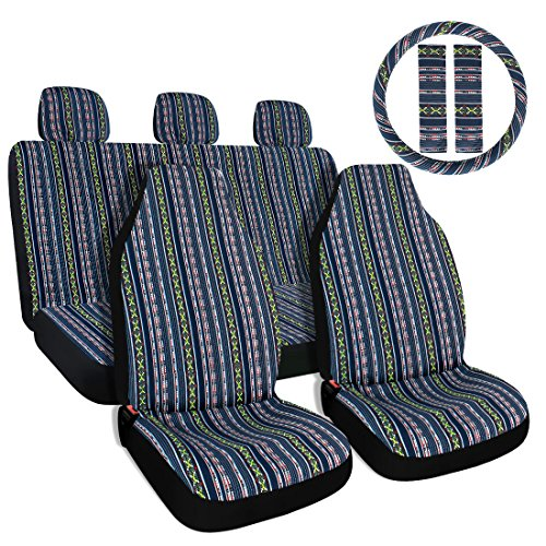 - Copap 10pc Multi-Color Baja Saddle Blanket Car Seat Covers with 15