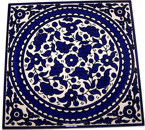 Modular hand painted tile from Jerusalem Model X - 6 Inches - Asfour Outlet Trademark (Jerusalem Tile)