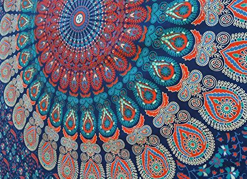 Popular Handicrafts Popular Twin Hippie Indian Tapestry Elephant Mandala Throw Wall Hanging Gypsy Bedspread Twin 54x84 Inches,(140cmsx210cms), Blue