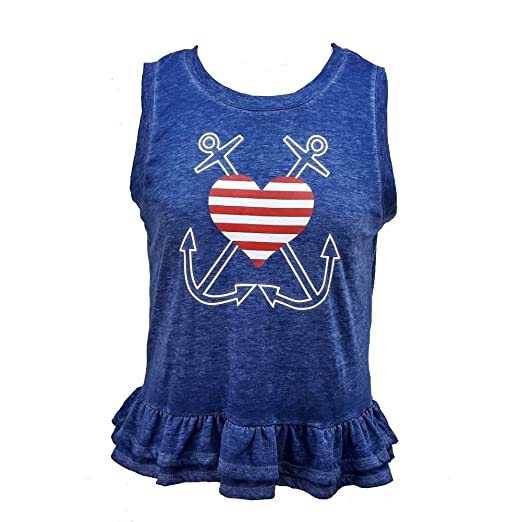 9d8ea1f606958b Almost Famous Junior Blue Peplum Anchor Heart Nautical Ruffle Tank (Small)