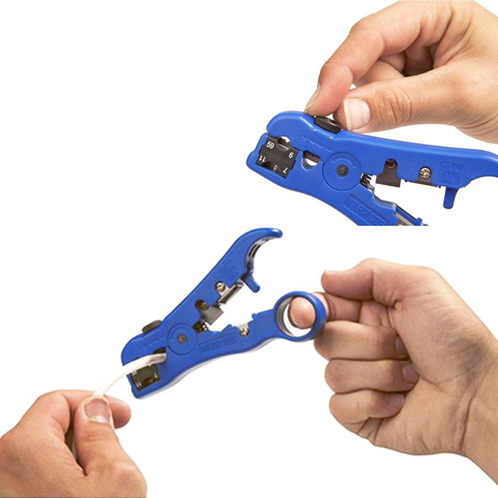 beige Koaxialkabel-Abisolierwerkzeug AVESON Universaler Abisolierzangen-Schneider f/ür flache oder runde TV//UTP-Kabel oder Kabel der Kategorien 5 oder 6