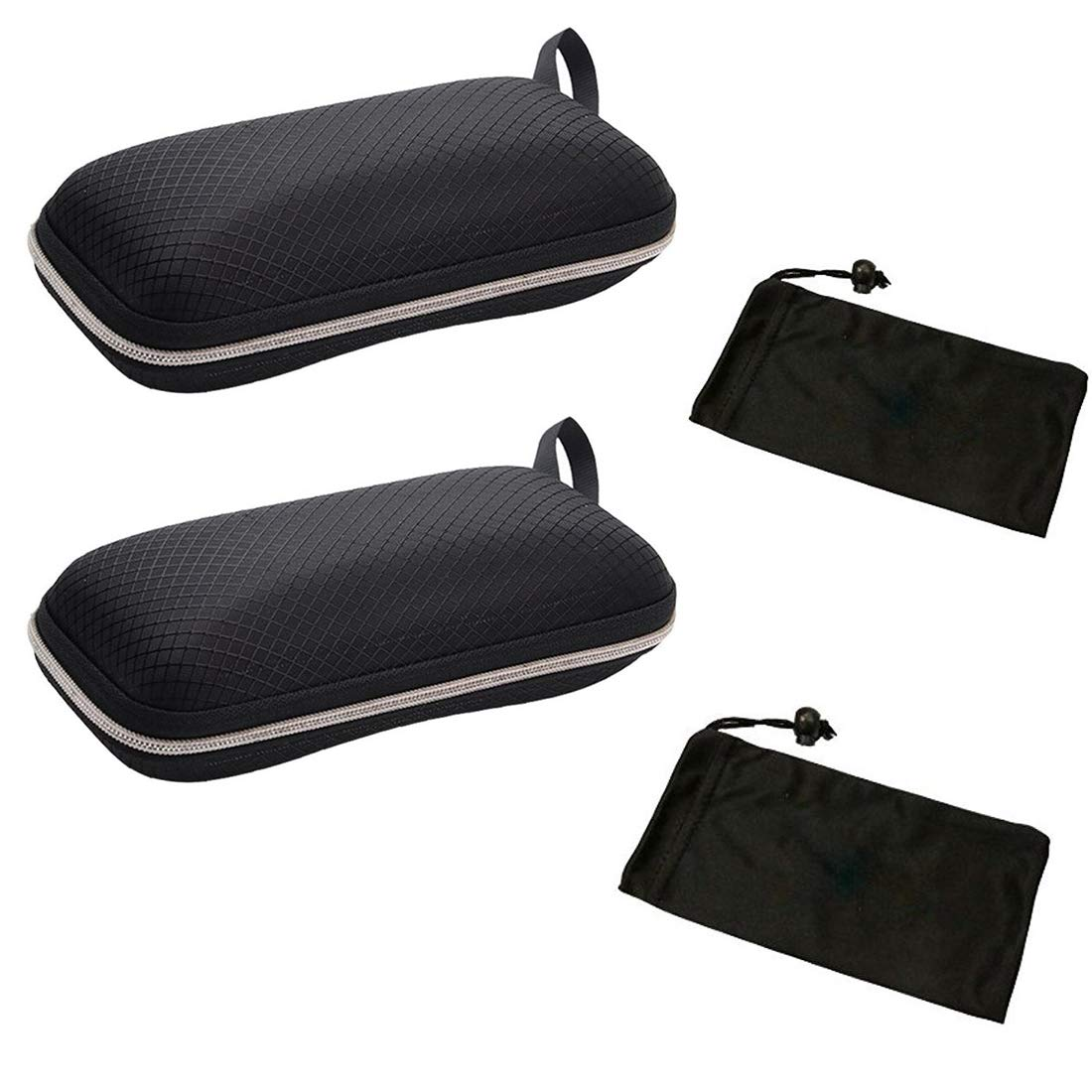 Brand New Black Zip Eye Glasses Nylon Eyewear Hard Case Eyeglasses Safety Bag Zippered Hard Sunglasses Case Holder Box Belt Holder Protector 2.5 High Eyeglasses Pouch