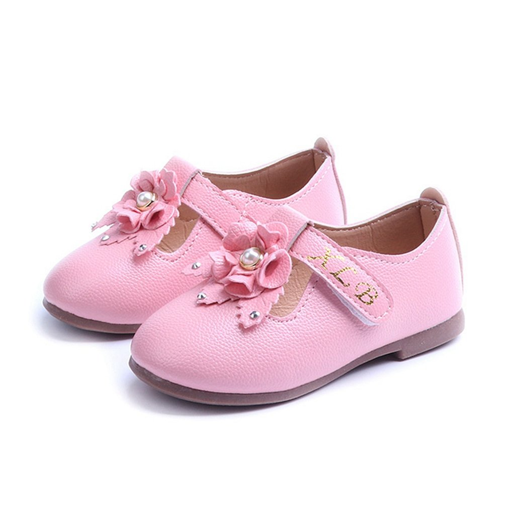 CYBLING Grils Retro T-Strap Oxford Shoes School Uniform Mary Jane Flats With Flower Accent (Toddler/Little Kid)