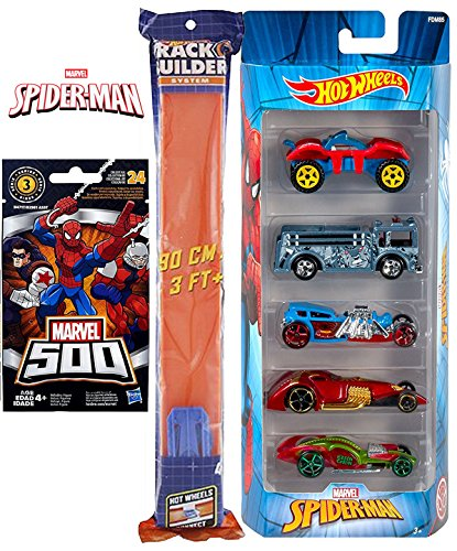 Spider-Man car Figure Race Pack Hot Wheels Series Buggy Rider / Rhino Fire Truck / Street Creeper/ Green Goblin + Marvel 500 micro series 3 mystery bag & Straight Race Pieces 3ft track system - Ride In A Fire Truck Costumes