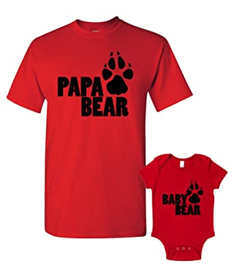 96bda2302 Papa Bear and Baby Bear T-Shirts Baby Grow Matching Father Child Gift Set 2