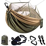 Single & Double Camping Hammock with Mosquito/Bug Net, 10ft Hammock Tree Straps and Carabiners, Easy Assembly, Portable…