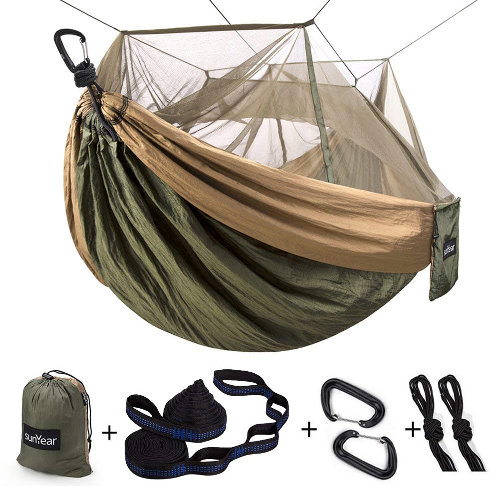 Single & Double Camping Hammock with Mosquito/Bug Net, 10ft Hammock Tree Straps and Carabiners, Easy Assembly, Portable Parachute Nylon Hammock for Camping, Backpacking, Survival, Travel & More by Sunyear