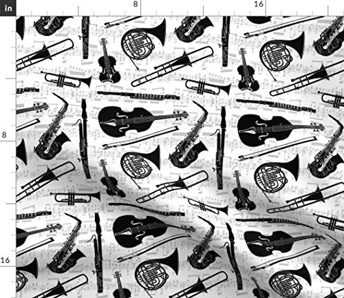 Music Fabric - Musical Instruments Jazz Classical Saxophone Trumpet Symphony Band Orchestra Print on Fabric by The Yard - Petal Signature Cotton for Sewing Quilting Apparel Crafts - Broadcloth Symphony