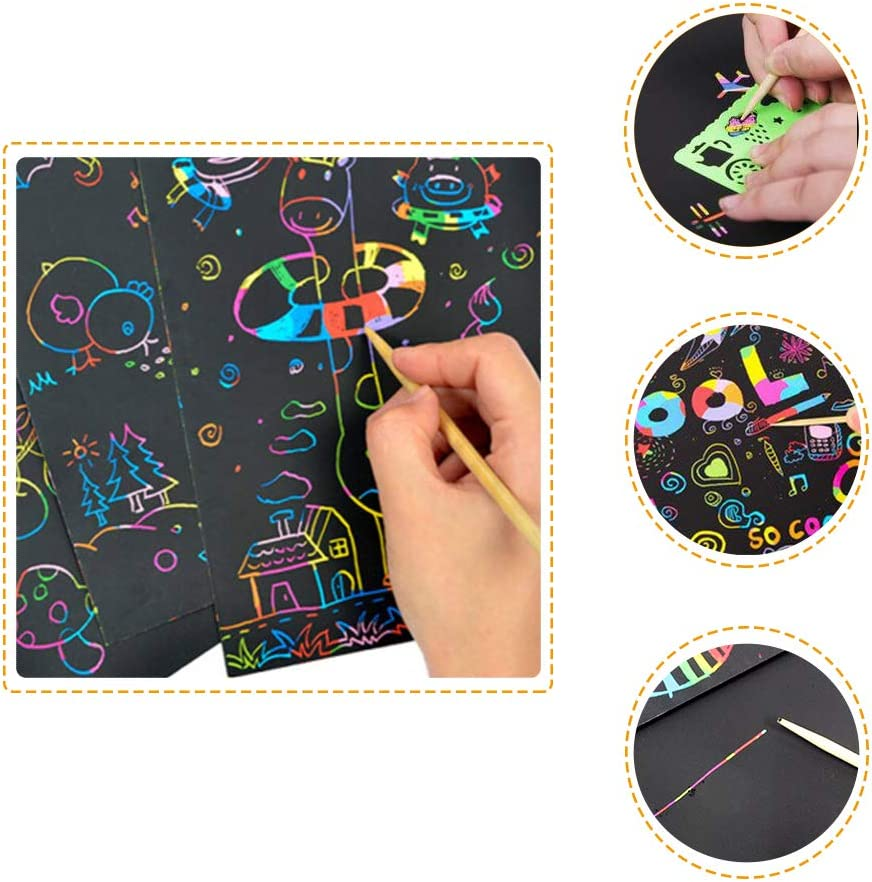 Gift Xilanhhaa 50Pieces Rainbow Scratch Paper,Scratch Art Set for Kids,Black Scratch Off Art Crafts Notes Boards Sheet with 5 Wooden Stylus,4 Drawing Stencils for Easter,Party,Chritmas,Birthday