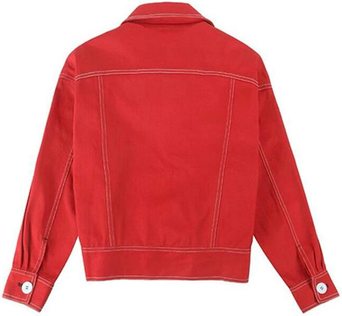 Colygamala Womens Denim Jacket Long Sleeve Casual Cute Red Loose Motorcycle Jean Coat