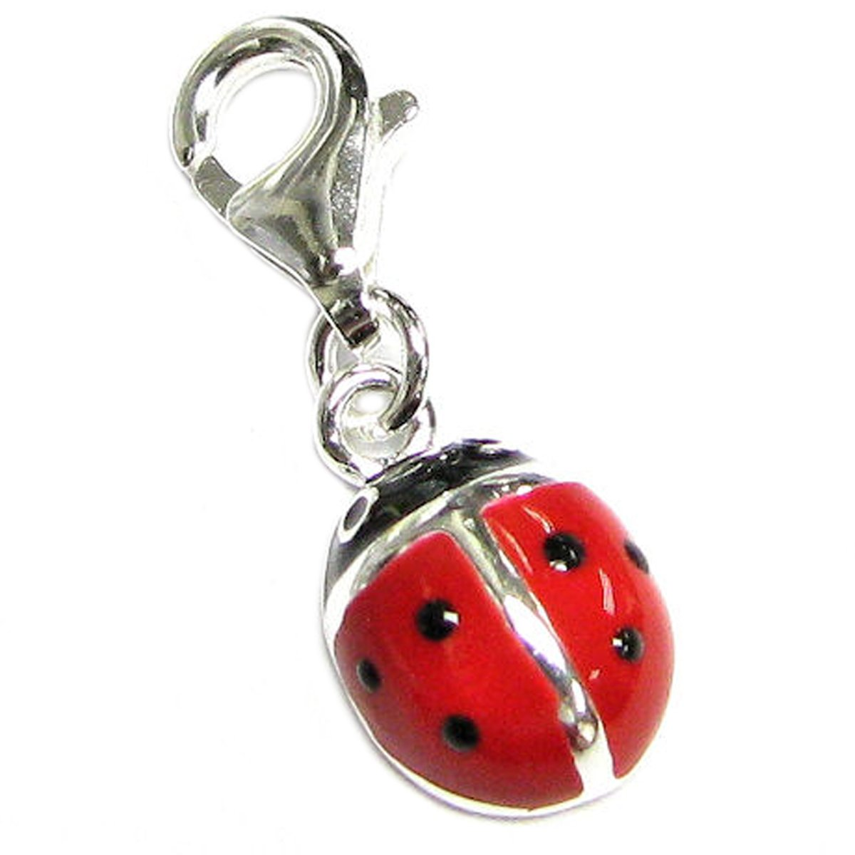 Sterling Silver Red Black Lady Bug Ladybug Enamel Dangle Pendant Lobster Bead Charm For European Clip On Bracelets & Necklaces Queenberry PA1752X1