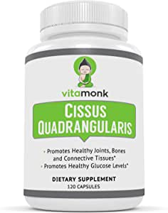 VitaMonk™ Cissus Quadrangularis 5% Ketosterone Extract - 120 Capsules - Targeted 5.35% Extract of 3-Ketosterones Reduce Joint Pain, Support Bone Health and Help Fat Loss. Compare to SuperCissus RX
