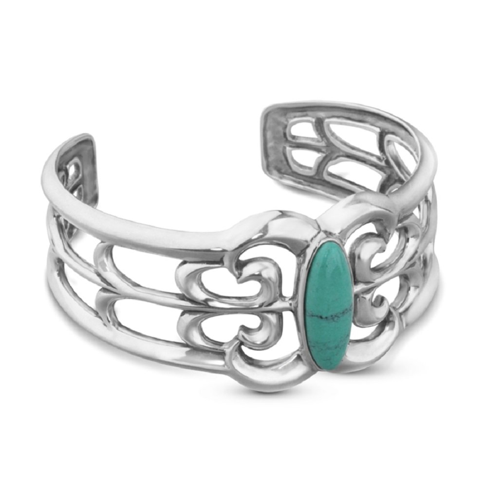 Sterling Silver Turquoise Filigree Cuff Bracelet, Medium