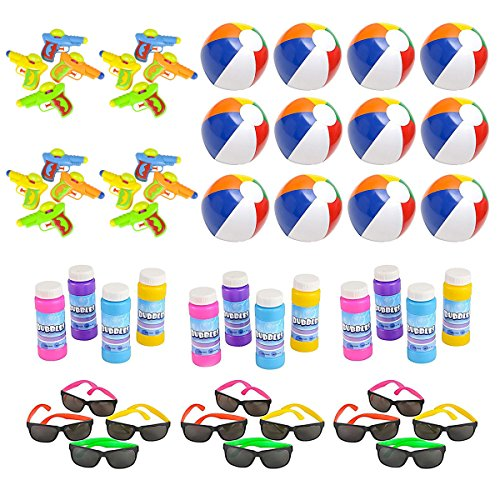 Mega Pool Party and Beach Party Favors - Summer Fun Toy Mega Assortment Bulk Pack of 48 Kids Toys Includes - Kids Sunglasses Party Favors, Inflatable Beach Balls, Water Gun Squirts and Bubbles (Pool Mega)