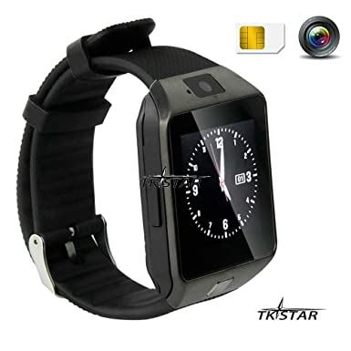 1.56 TFT LCD Touch Screen Smart Reloj Smart Watch Smartphone con Android Sistema Bluetooth Fitness Dormir Monitor Audio Play Facebook dz09 Negro