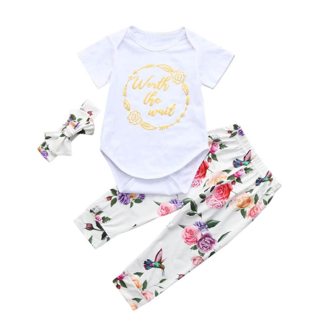 Voberry Toddler Newborn Baby Girls Summer Short Sleeve Romper Jumpsuit+Floral Pants+Headband Outfits Clothes Set