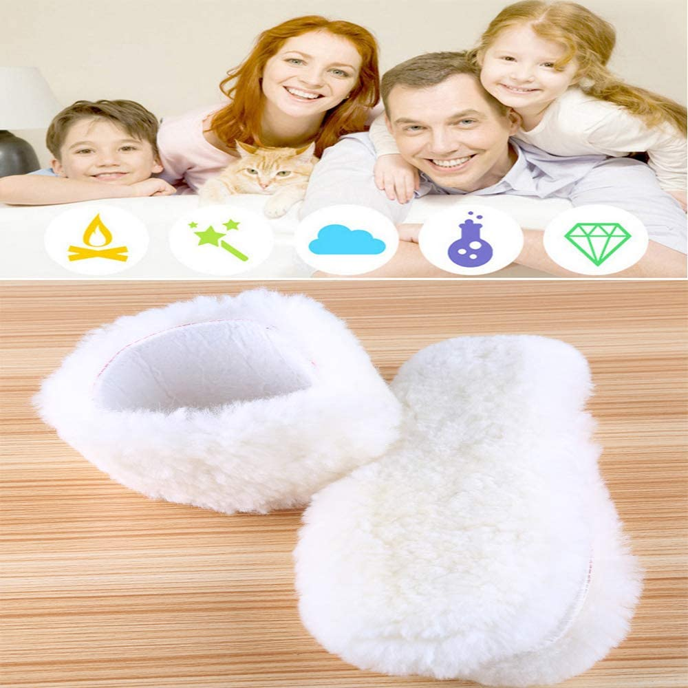 23cm,CA 6 Fluffy Wool Felt Insoles Shoe Pads,White Premium Cozy Thick Anti Odor Breathable Handmade Inserts for Frostbite Cold Feet in Winter