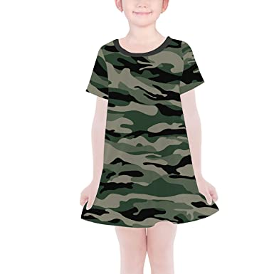 980c3dbbb51 Amazon.com: Queen of Cases Military Camouflage Girls T-Shirt Dress ...