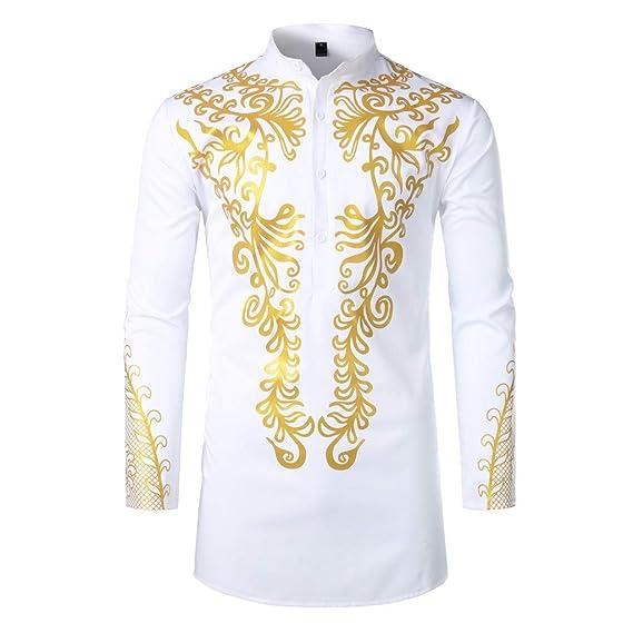 Camisas Hombres, Dragon868 Cuello de Estilo Africano para Hombre ...