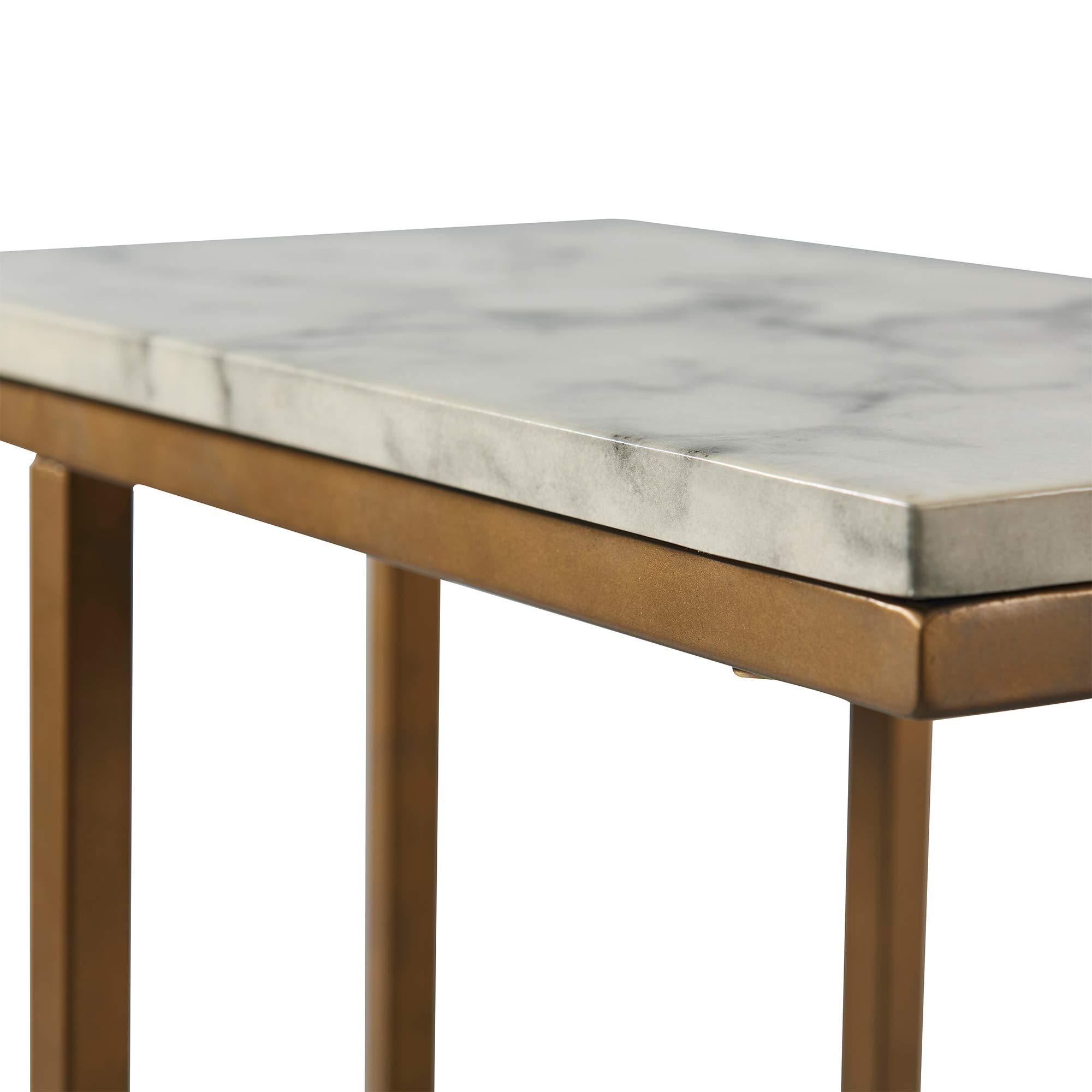 Versanora - Marmo C Shape Table - Faux Marble /Brass by Versanora (Image #8)
