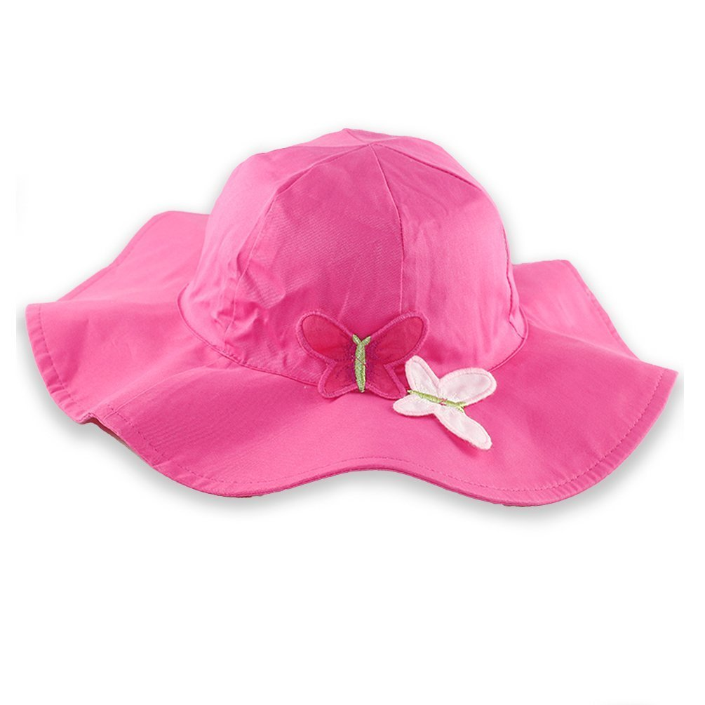 Baby Girls Hats Bows Little Lady Style Princess Kids Party (L, Pink Butterfly) Kids Toddler Summer Cap 2T 3T Breathable Compact Design Decorative Frill Plain Design Romantic Summer Wing-tip
