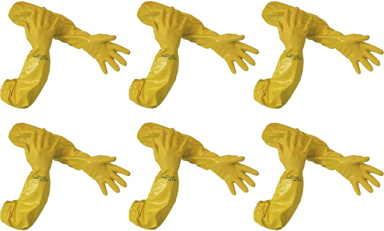Atlas 772 26-inch Nitrile Large Elbow Chemical Resistant Yellow Gloves 4-Pairs