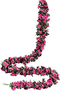 Luyue 49ft Artificial Flower Vines Fake Silk Rose Vine Garland Hanging Flowers Plants for Wedding Home Hotel Party Decor 6 Pack(Dark Rose Red)